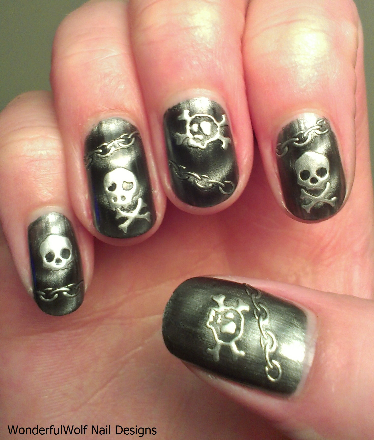 Skull Nail Art Wonderfulwolf
