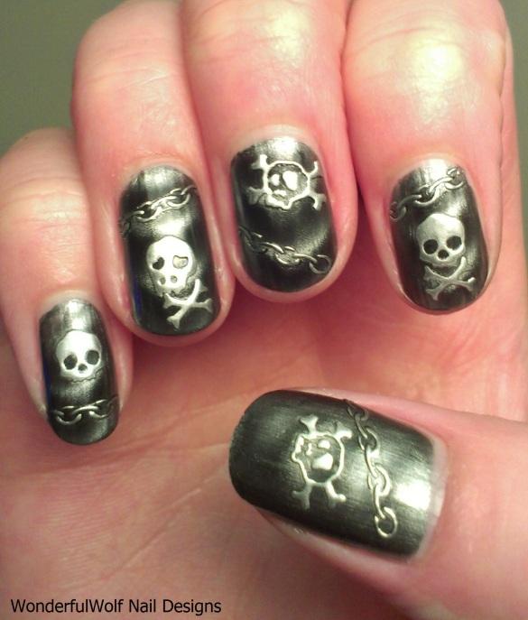 Rocker Skull Nail Art