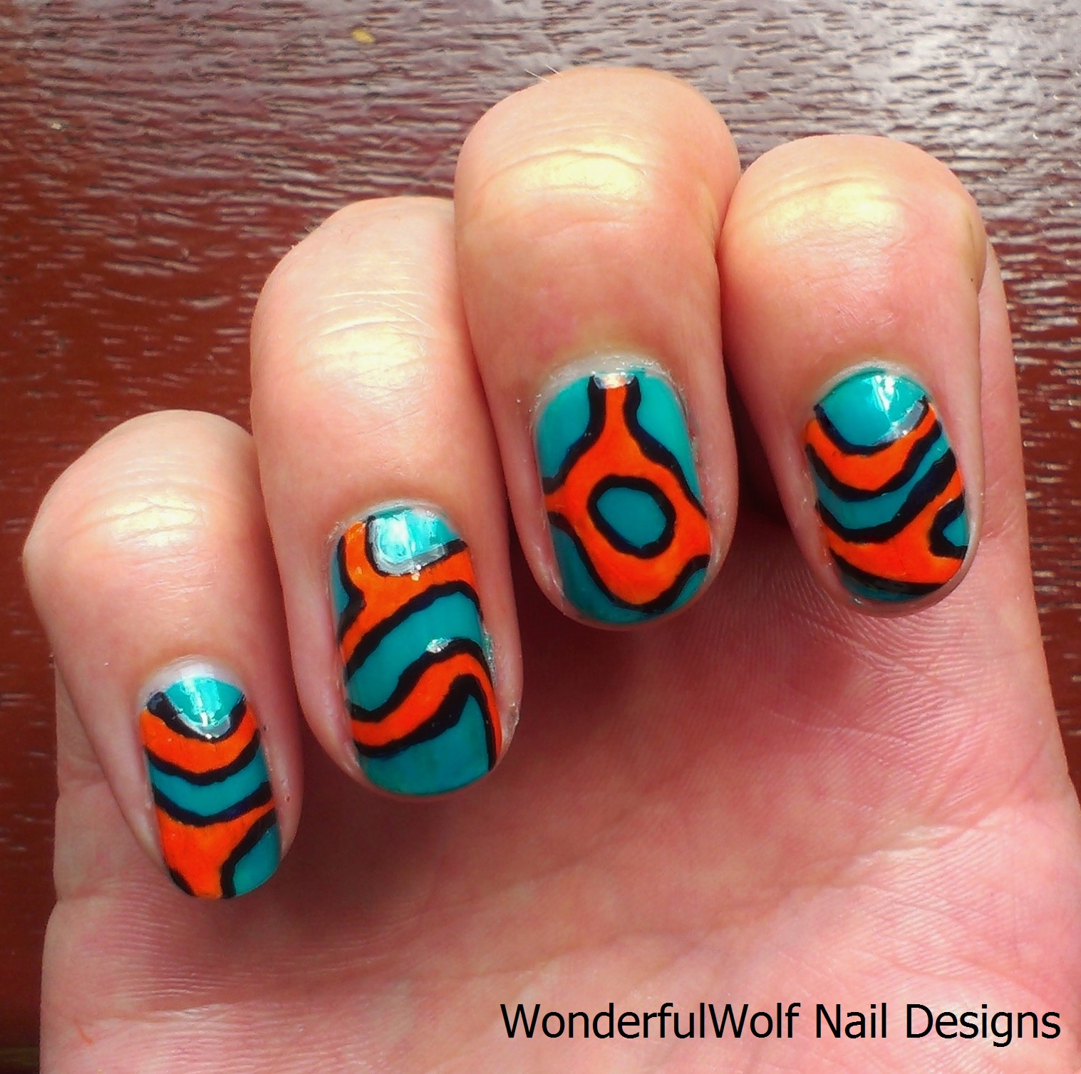 Marine themed nails wonderfulwolf mandarin nail art prinsesfo Gallery