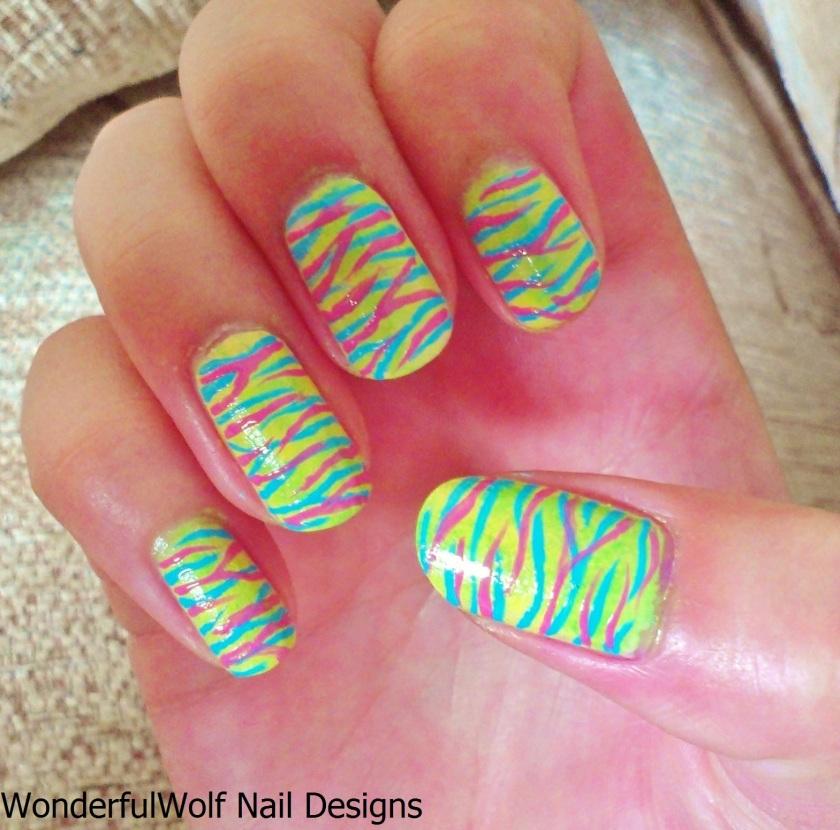 Neon Tiger Nail Art