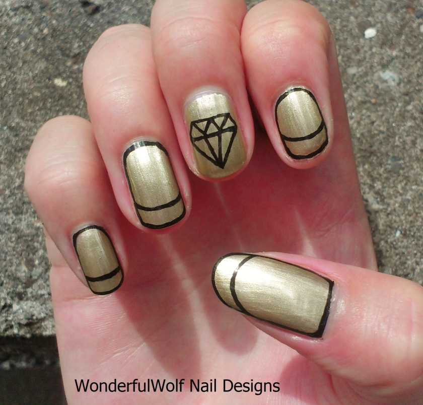 Gold Diamond Nail Art