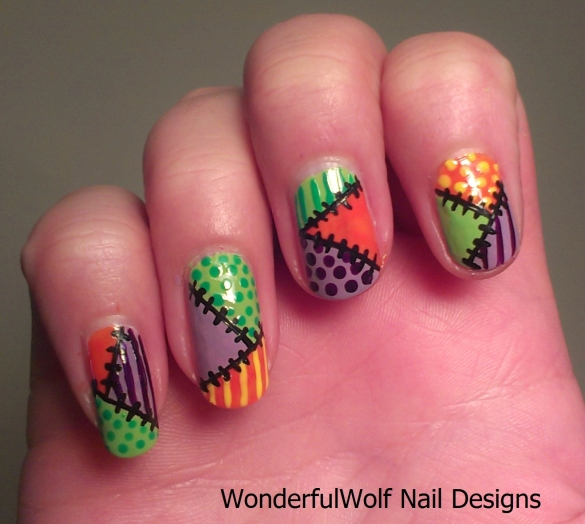 Halloween Patch-Work Nail Art