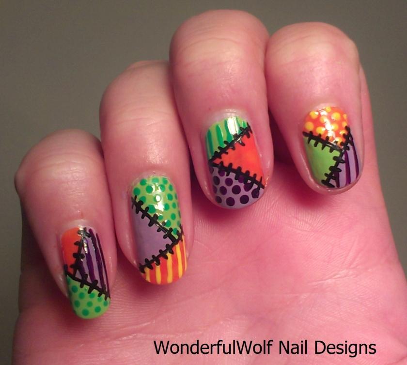Halloween Patch-Work Nail Art