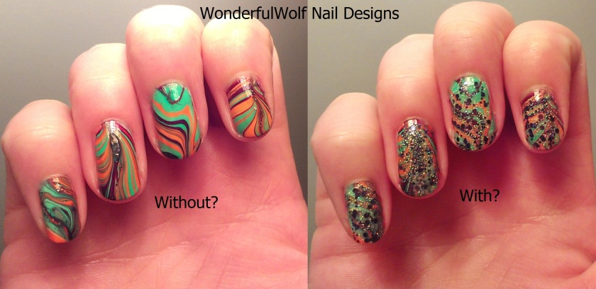 Witchy Water Marble Nail Art