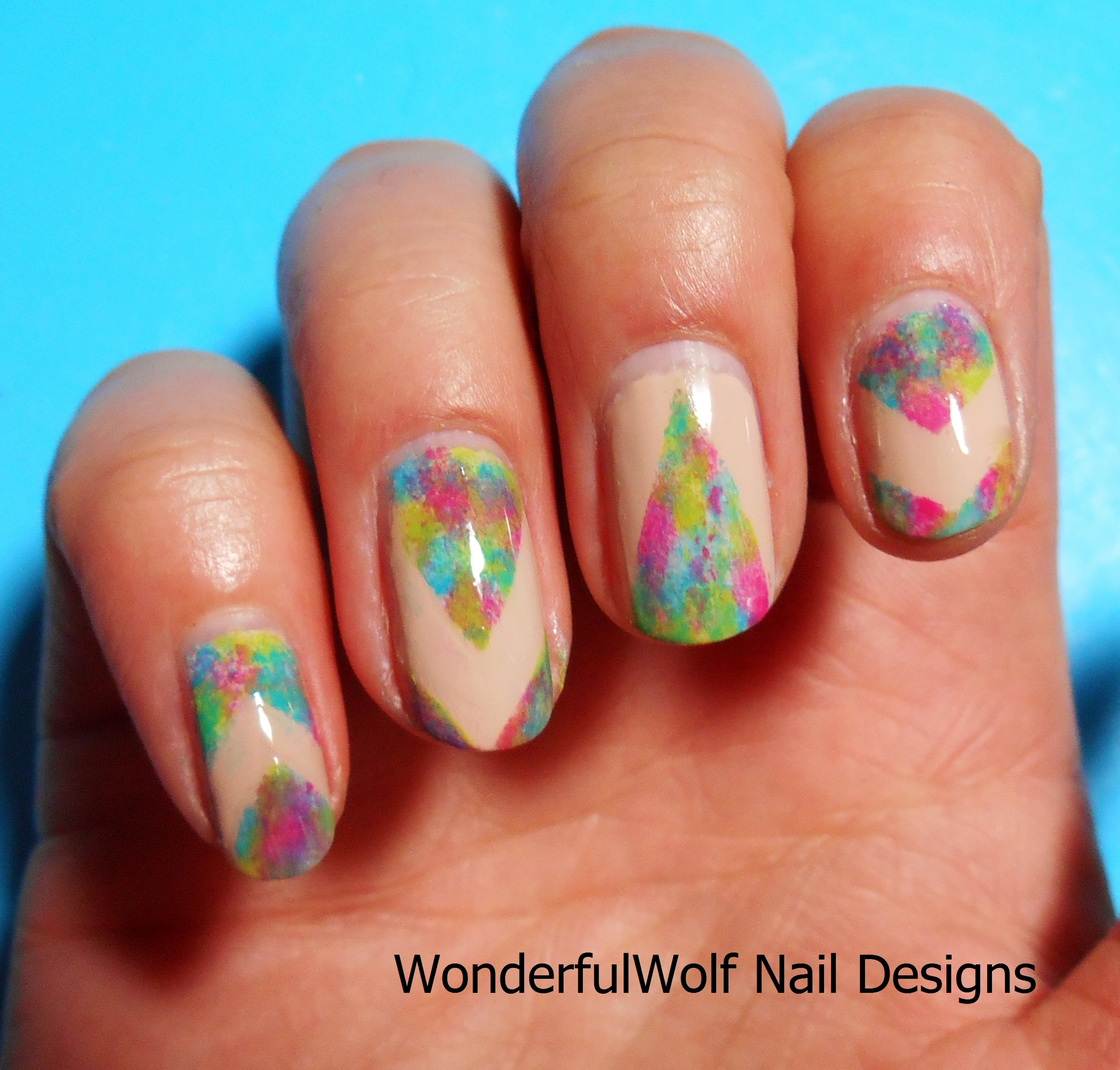 Festival nail art wonderfulwolf summer sponging nail art prinsesfo Image collections