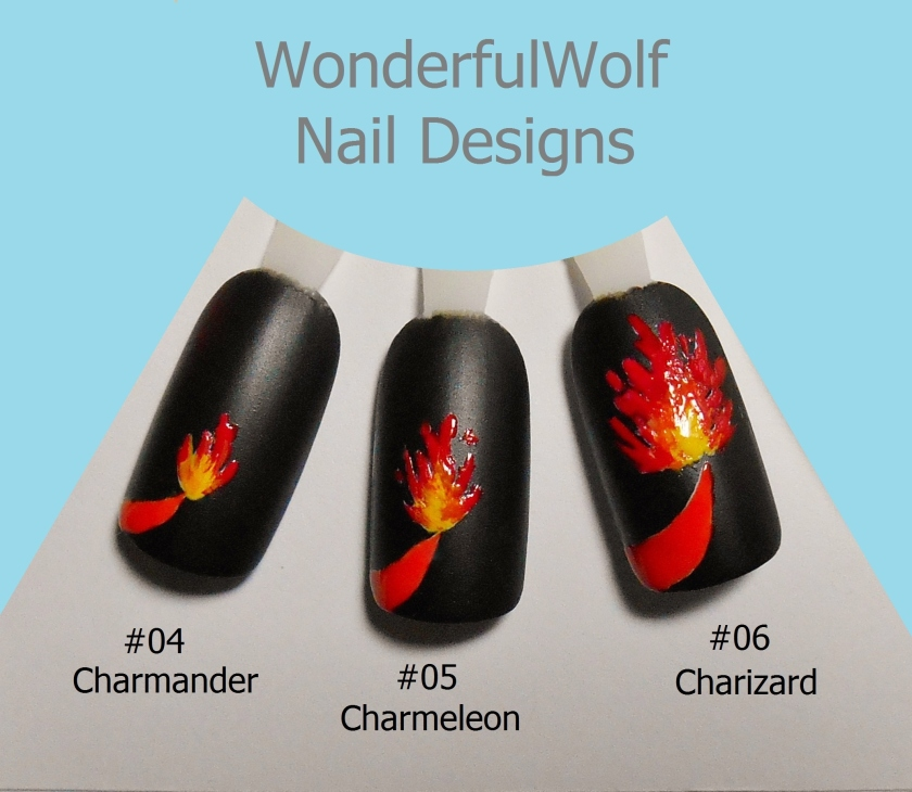 Charmander Evolution Nail Art