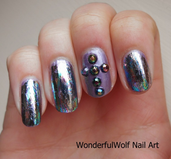 Iridescent Cross Nail Art