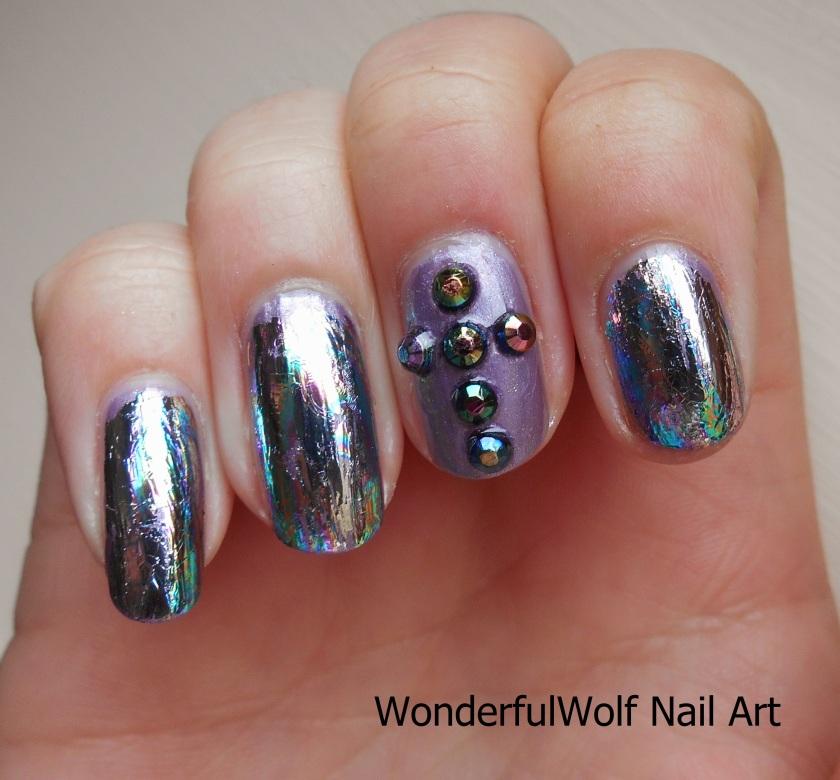 Iridescent Cross Nail Art