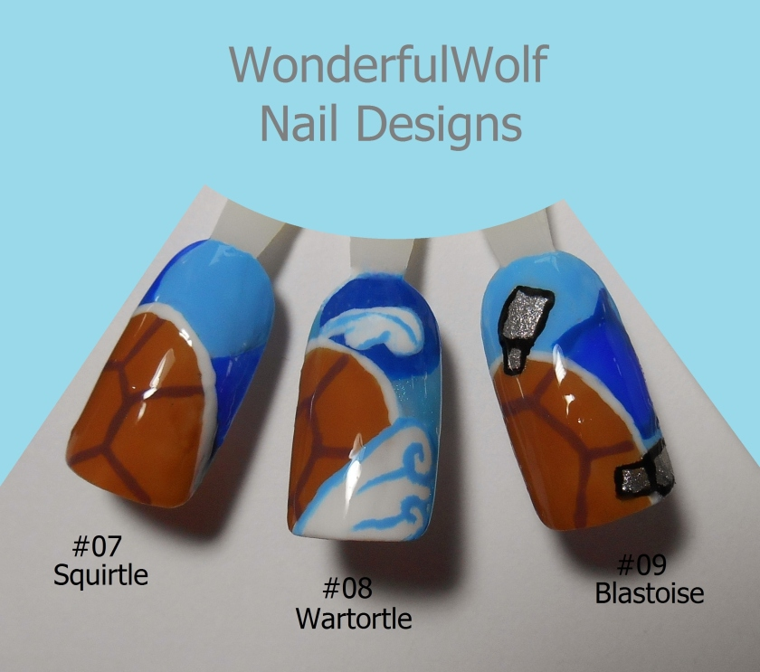 Squirtle Evolution Nail Art