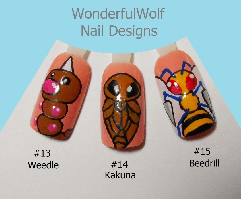 Weedle Evolution Nail Art