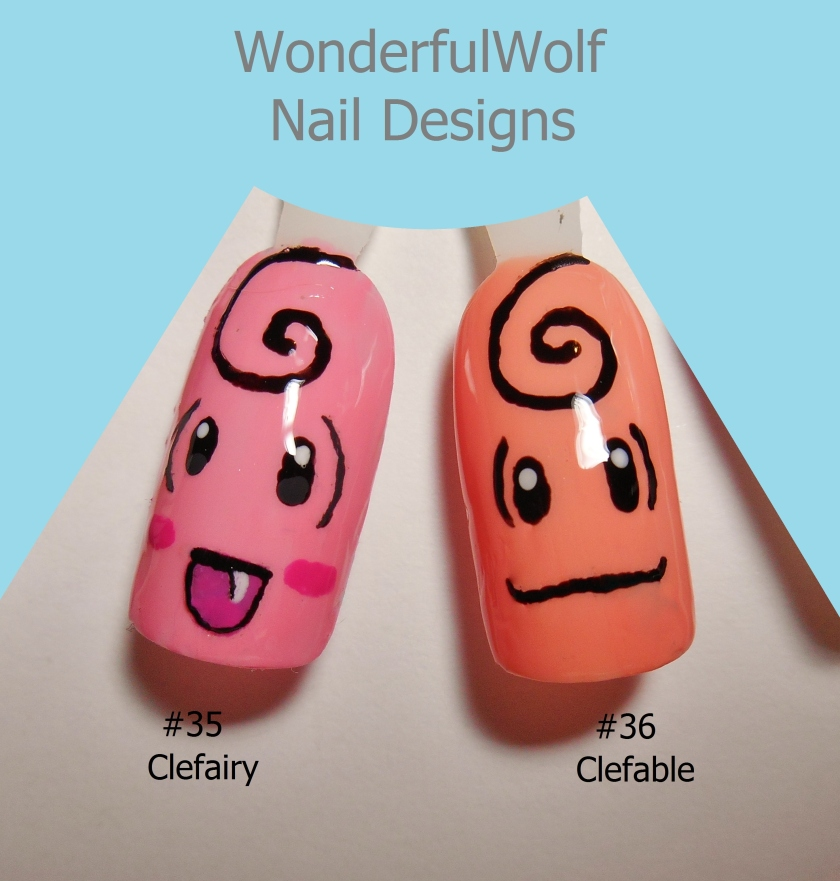 Clefairy and Clefable Nail Art