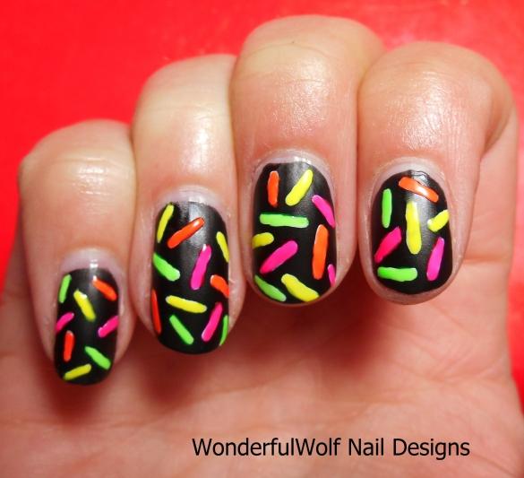 Neon Sprinkles Nail Art