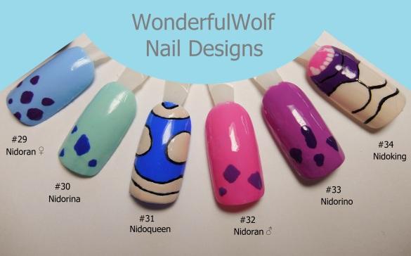 Nidoran Male and Female Evolution Nail Art