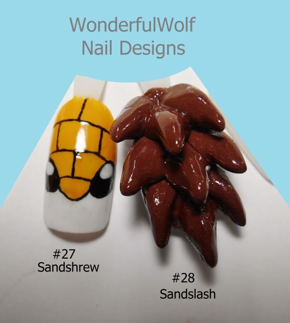 Sandshrew Evolution Nail Art