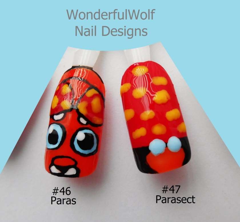 Paras and Parasect Nail Art