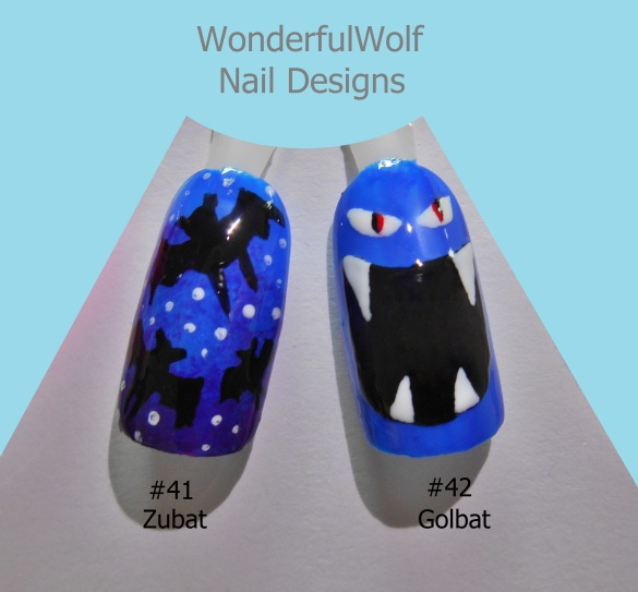 Zubat and Golbat Nail Art