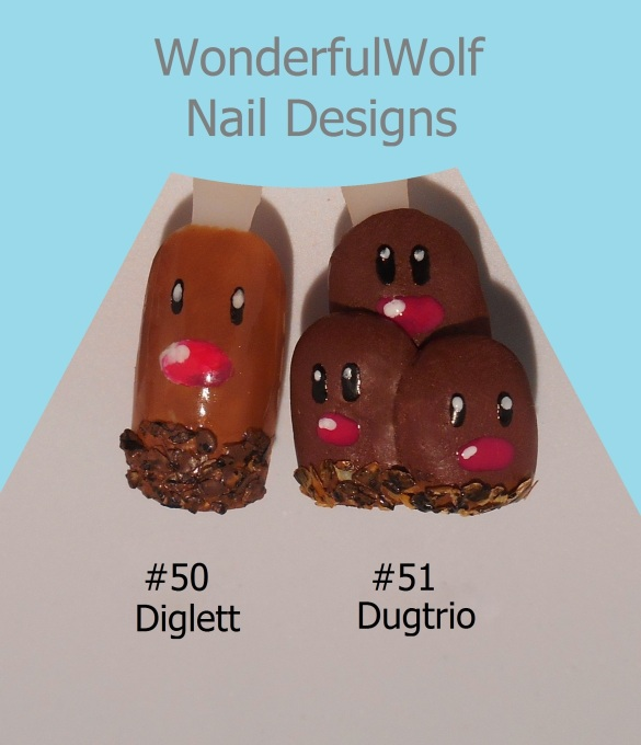 Diglett and Dugtrio Nail Art