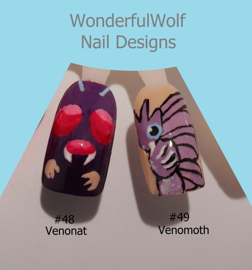 Venonat and Venomoth Nail Art