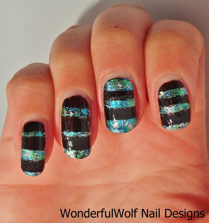 Foil Striped Nail Art