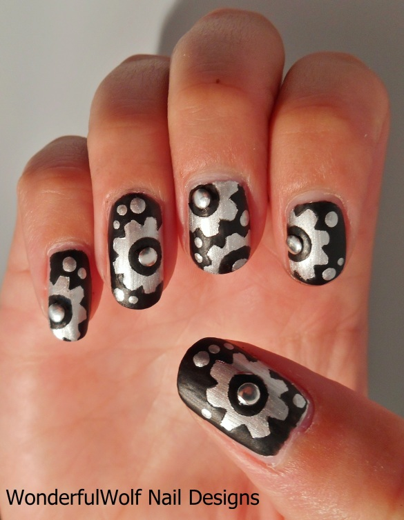 Gears and Cogs Nail Art