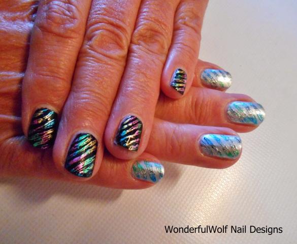 Stiped Foil Nail Art