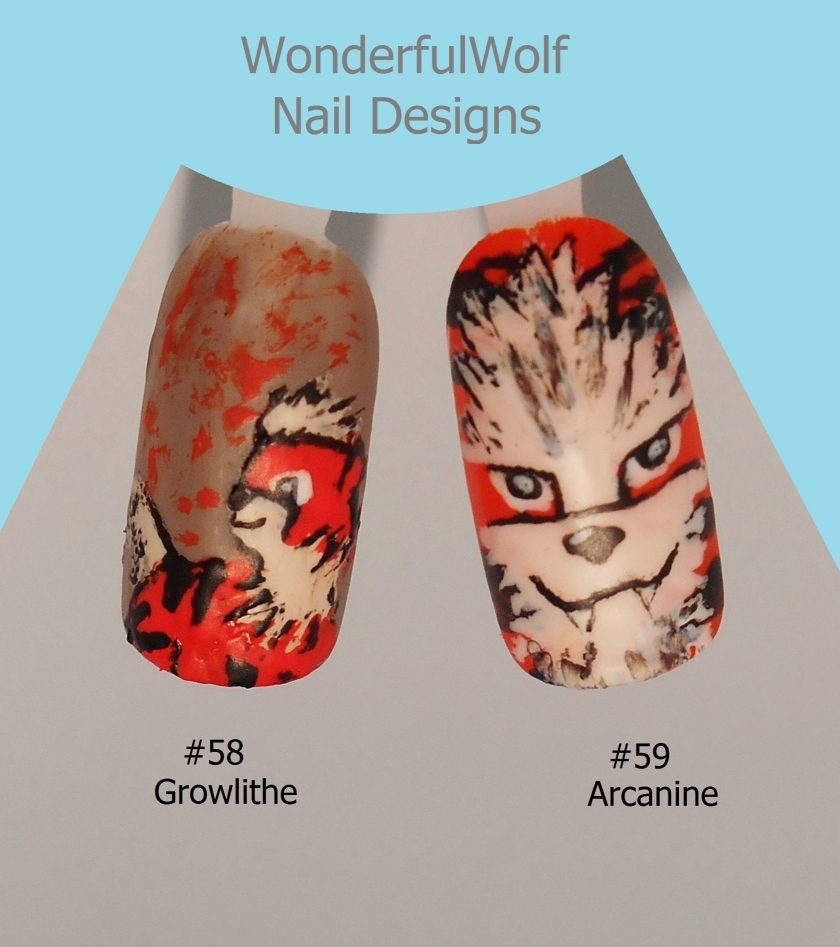 Growlithe and Arcanine Nail Art