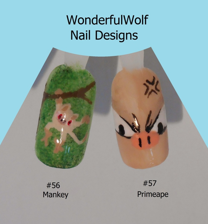 Mankey and Primeape Nail Art