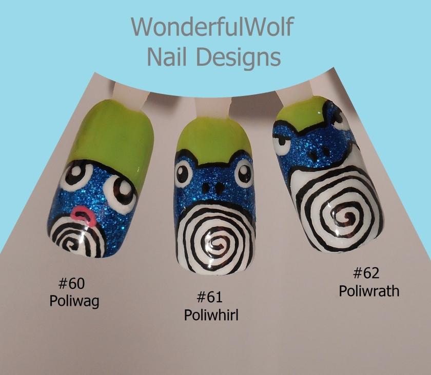 Poliwag, Poliwhirl, Poliwrath Nail Art