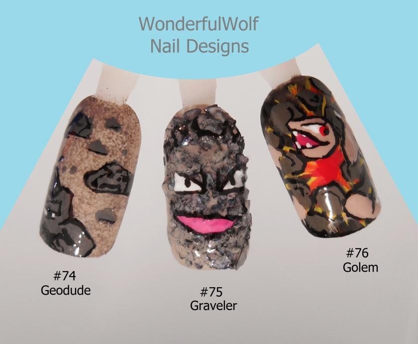Geodude Evolution Nail Art