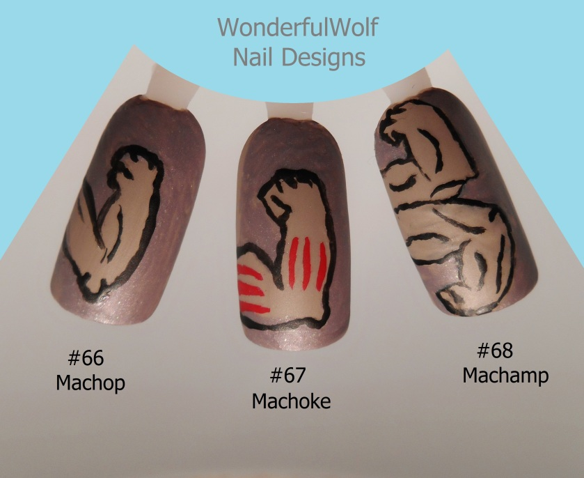 Machop, Machoke, Machamp Nail Art