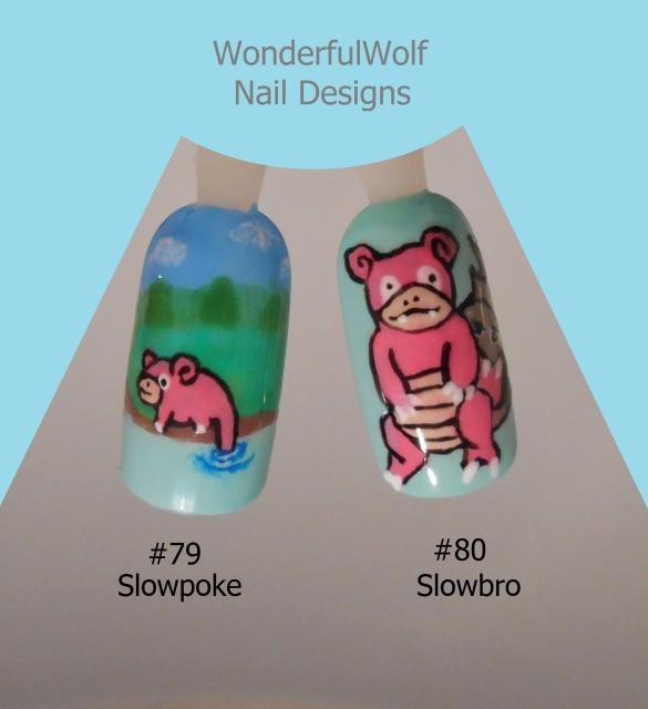 Slowpoke and Slowbro Nail Art