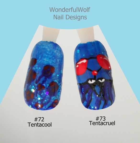 Tentacool and Tentacruel Nail Art