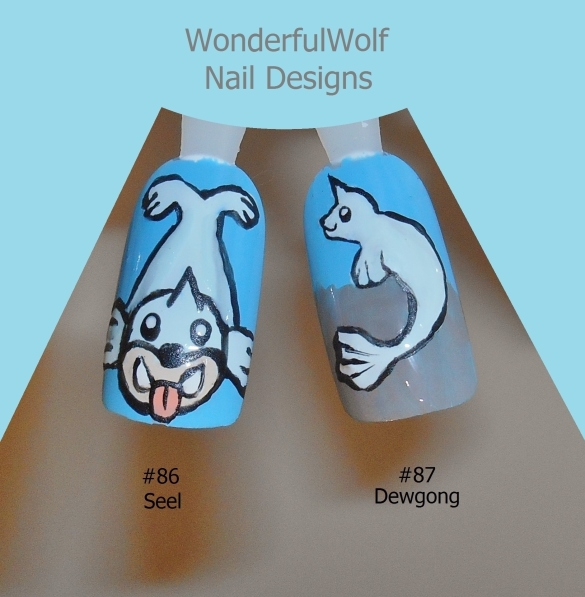 86, 87 Seel and Dewgong Nail Art