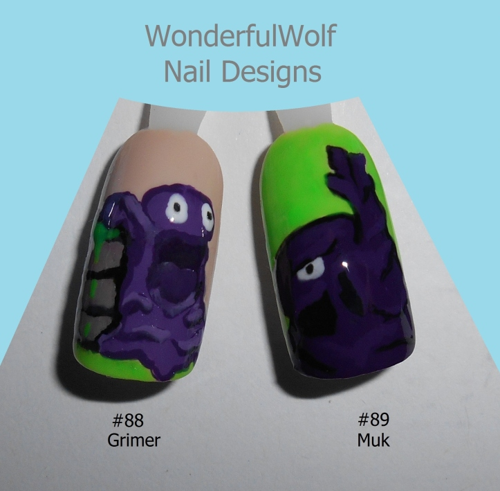 88, 89 Grimer and Muk Nail Art