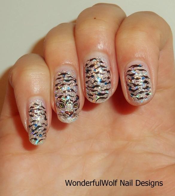 White Tiger Nail Art