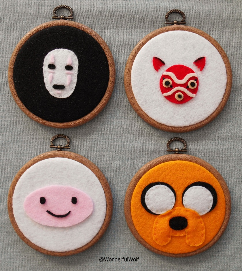 No Face, Princess Mononoke, Finn the Human and Jake the Dog Felt Hoops