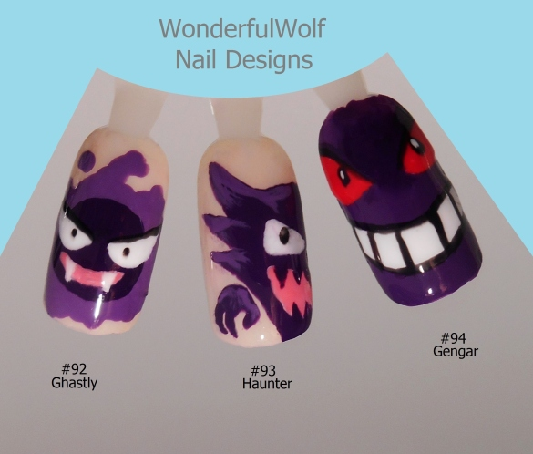 Ghastly, Haunter, Gengar Nail Art
