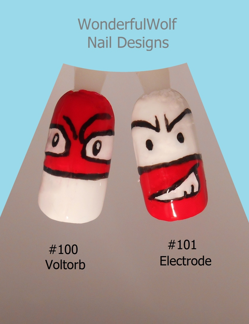 Voltorb and Electrode Nail Art