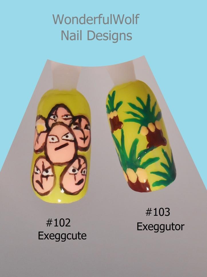 Exeggcute and Exeggutor Nail Art