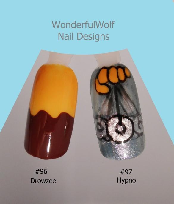 Drowzee and Hypno Nail Art