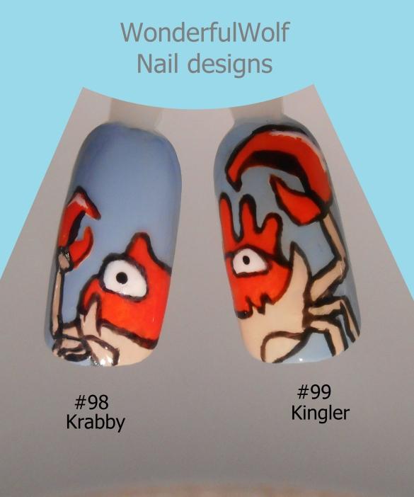 #98 Krabby #99 Kinlger Nail Art