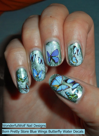 Born Pretty Store Blue Wings Butterfly Water Decals