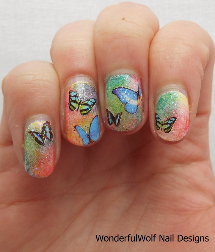 Born Pretty Store Blue Wing Butterfly Water Decals