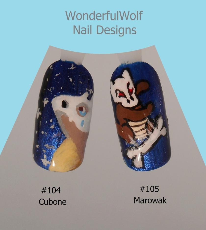 Cubone and Marowak Nail Art
