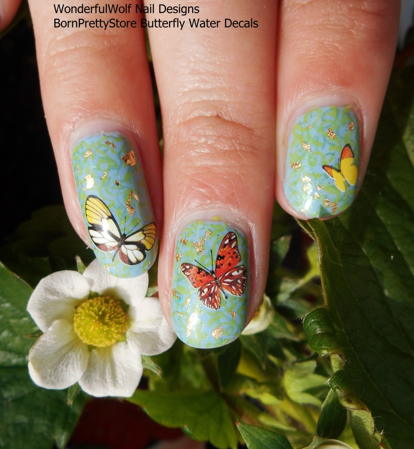Butterfly Decals with Strawberry Plant
