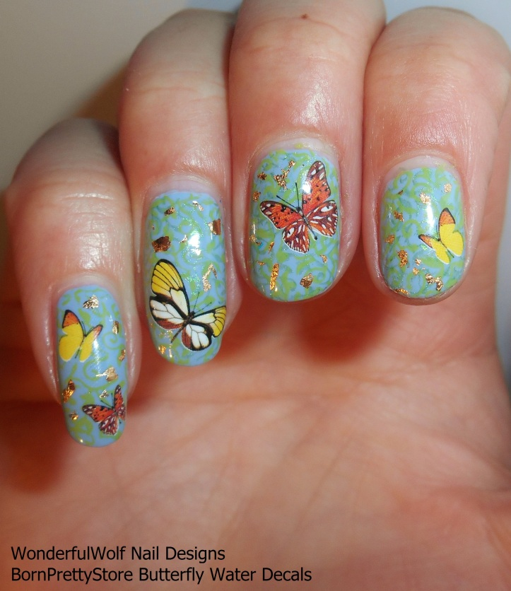 Orange Butterfly Decals Nail Art