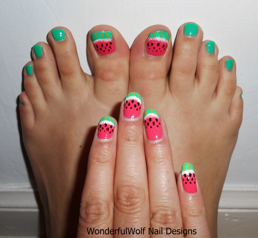 Matching Watermelon Nail Art