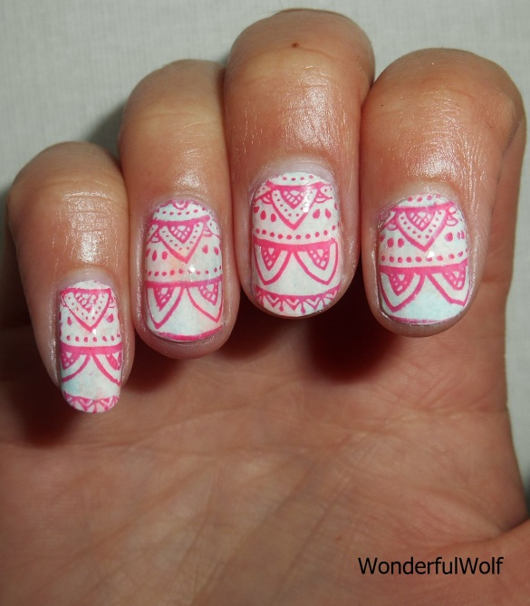 Pink Lace Stamping