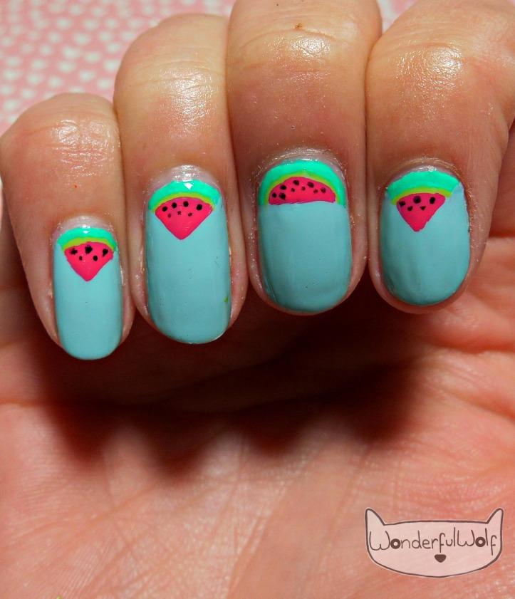 Watermelon Slices Nail Art