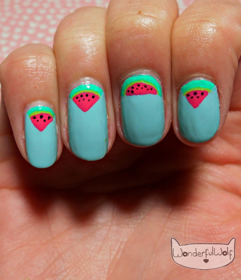 Watermelon Slices Nail Art